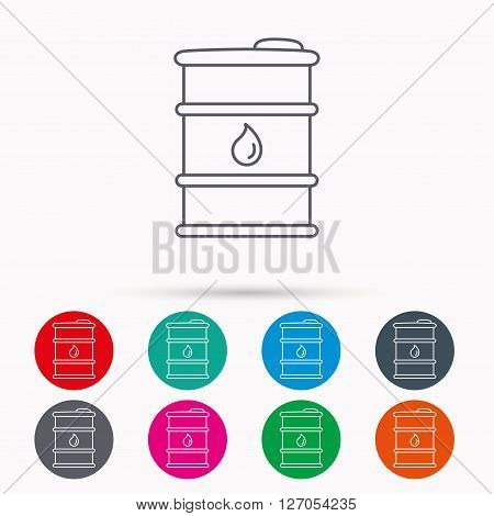 Barrel of oil icon. Cask with water drop sign. Fuel symbol. Linear icons in circles on white background.
