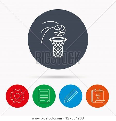 Basketball icon. Basket with ball sign. Professional sport equipment symbol. Calendar, cogwheel, document file and pencil icons.