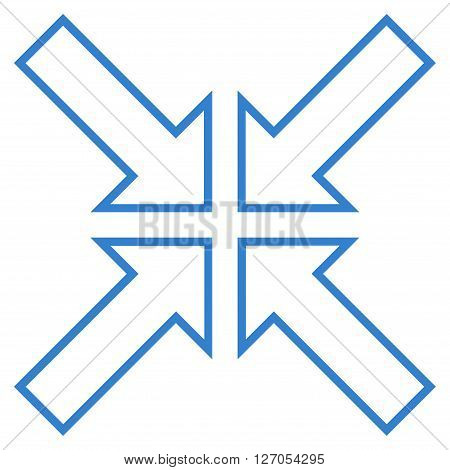 Meeting Point vector icon. Style is stroke icon symbol, cobalt color, white background.