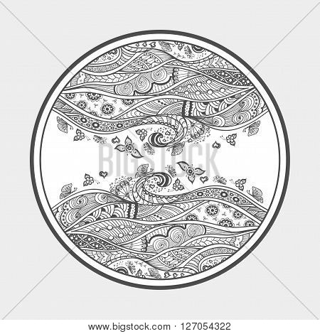 Zen-doodle or Zen-tangle texture or pattern  black on white in circle with butterfly flowers hearts waves swirl for  coloring page or coloring book or wallpaper or for decorate package clothes
