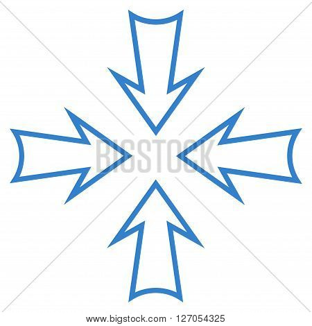 Minimize Arrows vector icon. Style is stroke icon symbol, cobalt color, white background.