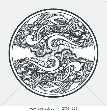 Zen-doodle or Zen-tangle texture or pattern  black on white in circle for coloring page or relax coloring book or wallpaper or for decorate package clothes or different things