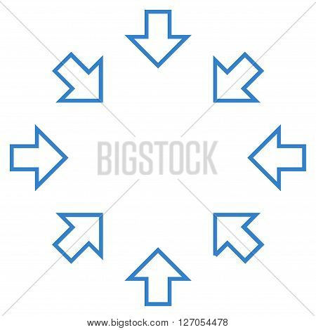 Pressure Arrows vector icon. Style is thin line icon symbol, cobalt color, white background.