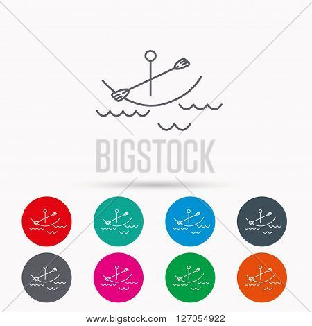 Kayaking on waves icon. Boating or rafting sign. Canoeing extreme sport symbol. Linear icons in circles on white background.