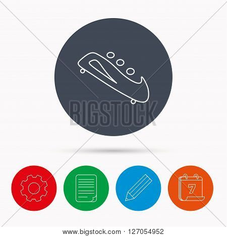 Bobsleigh icon. Three-seater bobsled sign. Professional winter sport symbol. Calendar, cogwheel, document file and pencil icons.