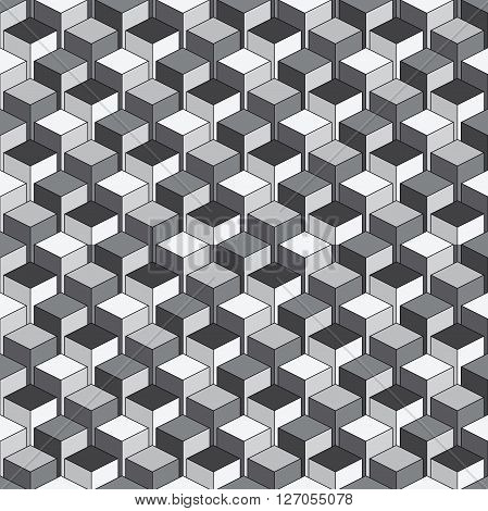 Seamless Isometric pattern of cubes vector colorful background geometric contemporary ornament