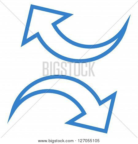 Replace Arrows vector icon. Style is contour icon symbol, cobalt color, white background.