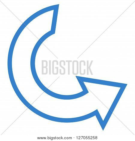 Rotate Ccw vector icon. Style is outline icon symbol, cobalt color, white background.
