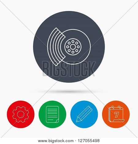Brakes icon. Auto disk repair sign. Calendar, cogwheel, document file and pencil icons.
