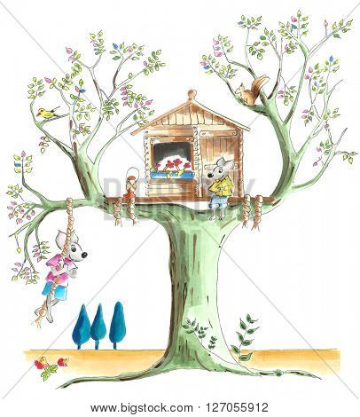 Treehouse for little mice illustration on white background