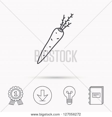 Carrot icon. Vegetarian food sign. Natural vegetable symbol. Download arrow, lamp, learn book and award medal icons.
