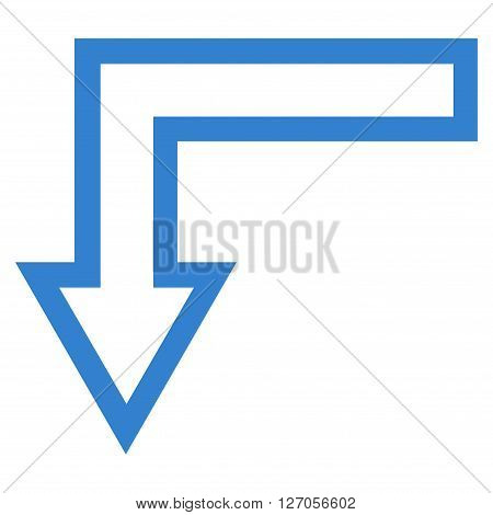 Turn Down vector icon. Style is thin line icon symbol, cobalt color, white background.