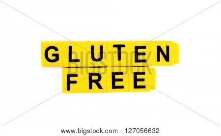 Phrase GLUTEN FREE made of yellow cubes isolated on white