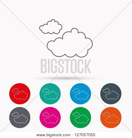 Cloudy icon. Overcast weather sign. Meteorology symbol. Linear icons in circles on white background.