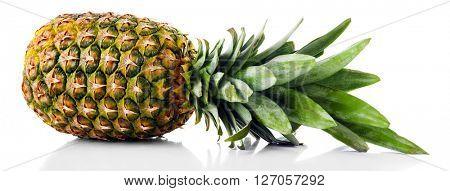 Ripe fresh pineapple, isolated on white
