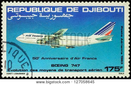 MOSCOW RUSSIA - APRIL 21 2016: A stamp printed in Djibouti shows Boeing 747-200 Airliner series