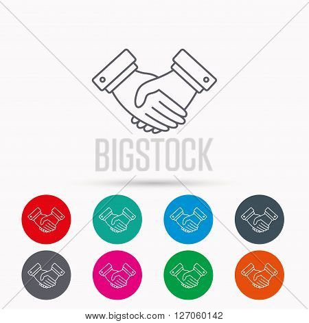 Handshake icon. Deal agreement sign. Business partnership symbol. Linear icons in circles on white background.