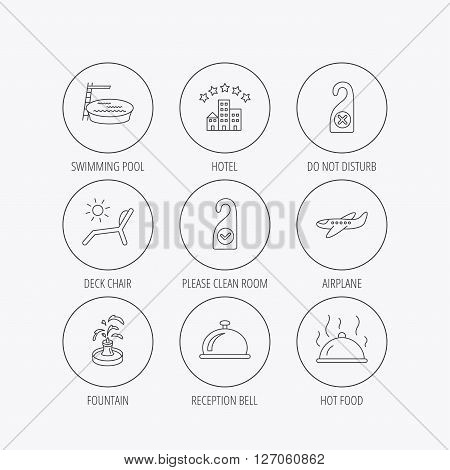 Hotel, swimming pool and beach deck chair icons. Reception bell, restaurant food and airplane linear signs. Do not disturb and clean room flat line icons. Linear colored in circle edge icons.