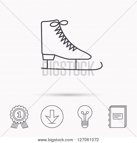 Ice skates icon. Figure skating equipment sign. Professional winter sport symbol. Download arrow, lamp, learn book and award medal icons.