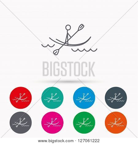 Kayaking on waves icon. Rafting or canoeing sign. Boating sport symbol. Linear icons in circles on white background.