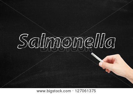 Salmonella written on a blackboard