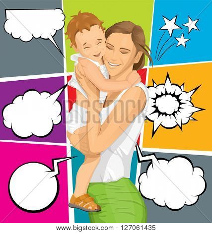 Happy family concept. Vector woman with child