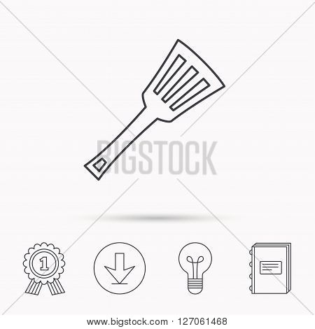 Kitchen utensil icon. Kitchenware spatula sign. Cooking tool symbol. Download arrow, lamp, learn book and award medal icons.