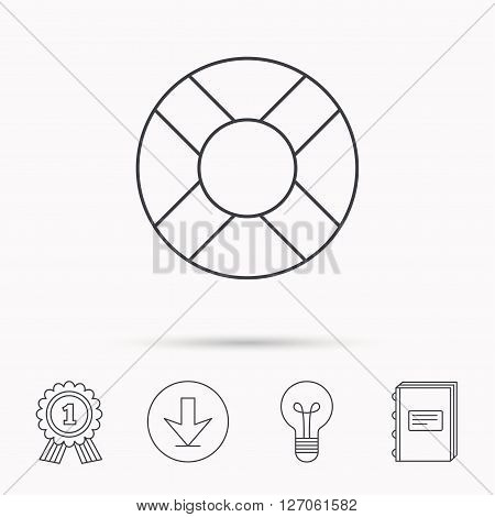 Lifebuoy icon. Lifebelt sos sign. Lifesaver help equipment symbol. Download arrow, lamp, learn book and award medal icons.