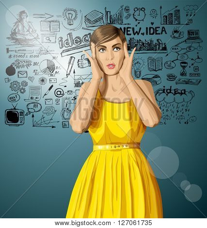 vector girl in dress, surprised and looking up and have got an idea