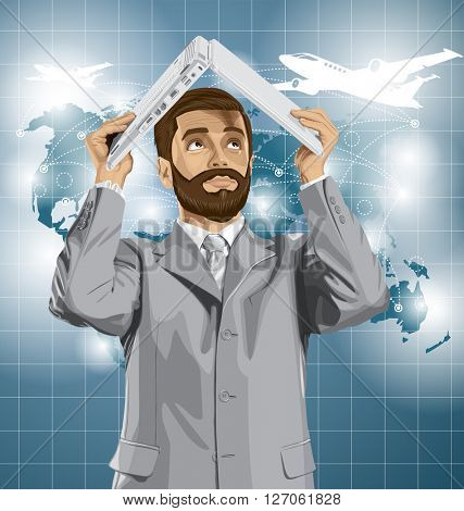 Vector business man with beard travel, hides under the laptop in his hands