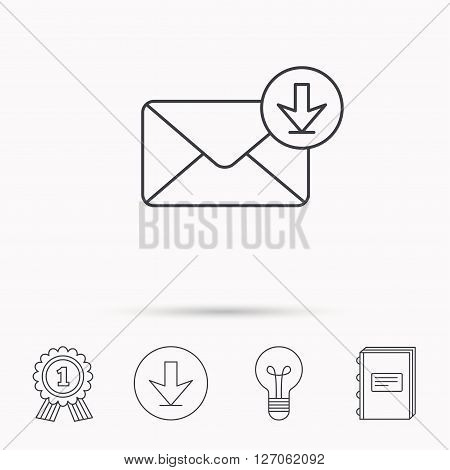 Mail inbox icon. Email message sign. Download arrow symbol. Download arrow, lamp, learn book and award medal icons.