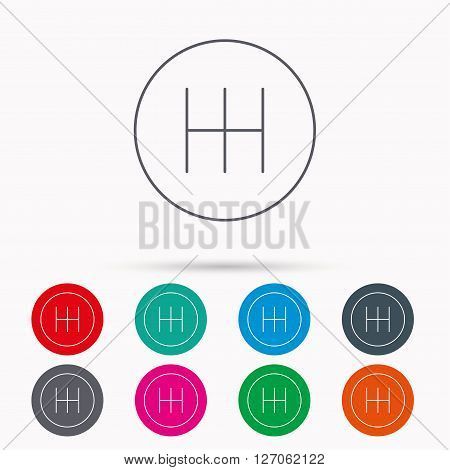 Manual gearbox icon. Car transmission sign. Linear icons in circles on white background.