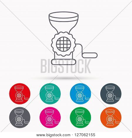 Meat grinder icon. Manual mincer sign. Kitchen tool symbol. Linear icons in circles on white background.