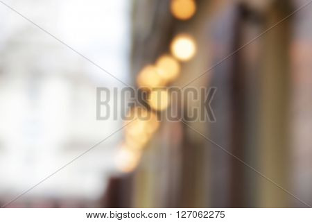 Exterior of building with lights of lamp, blurred image