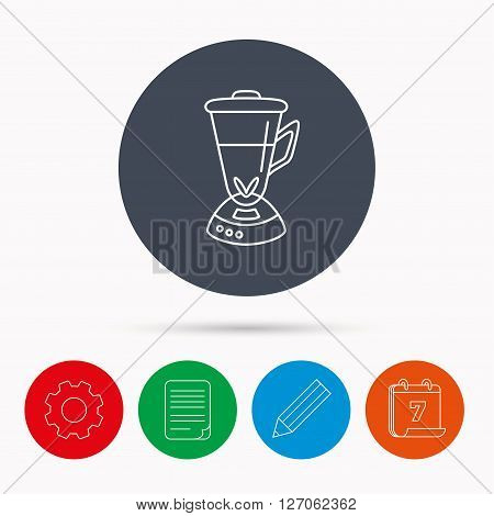 Mixer icon. Blender sign. Kitchen electric tool symbol. Calendar, cogwheel, document file and pencil icons.