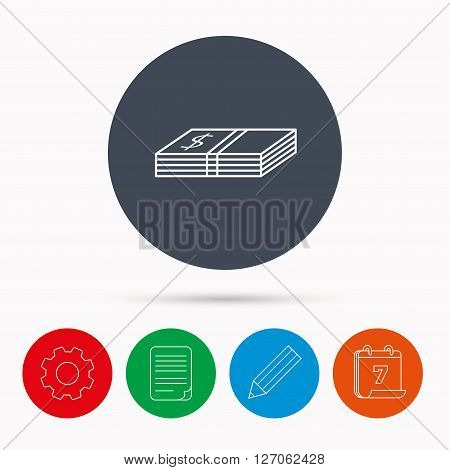 Cash icon. Dollar money sign. USD currency symbol. Calendar, cogwheel, document file and pencil icons.