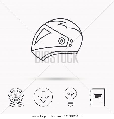 Motorcycle helmet icon. Biking sport sign. Download arrow, lamp, learn book and award medal icons.