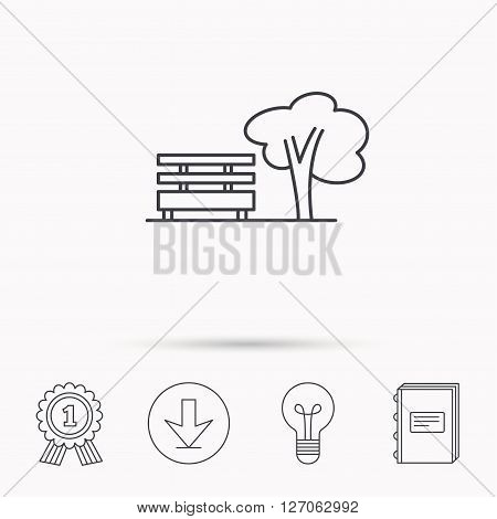 Public park icon. Tree with bench sign. Download arrow, lamp, learn book and award medal icons.