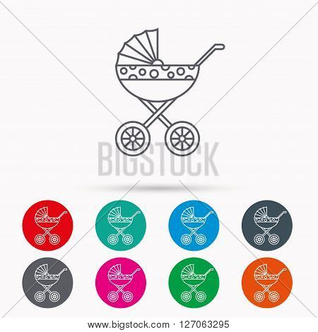Pram icon. Newborn stroller sign. Child buggy transportation symbol. Linear icons in circles on white background.