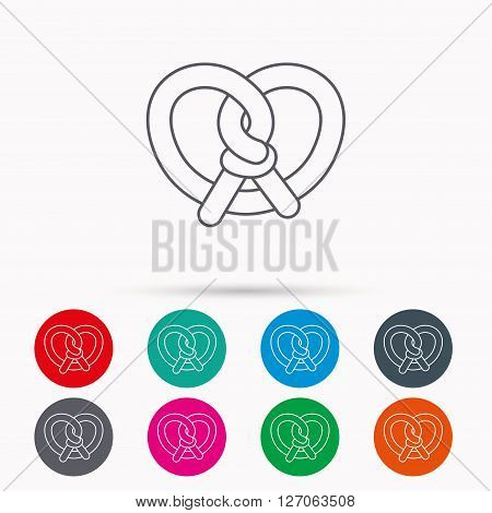 Pretzel icon. Bakery food sign. Traditional bavaria snack symbol. Linear icons in circles on white background.