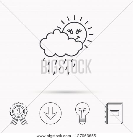 Rain and sun icon. Water drops and cloud sign. Rainy overcast day symbol. Download arrow, lamp, learn book and award medal icons.
