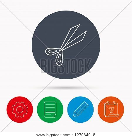 Gardening scissors icon. Secateurs tool sign symbol. Calendar, cogwheel, document file and pencil icons.