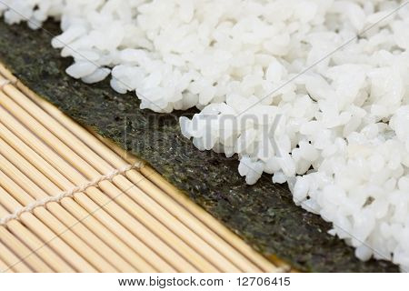 Rice On Sushi Nori
