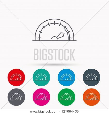 Speedometer icon. Speed tachometer with arrow sign. Linear icons in circles on white background.