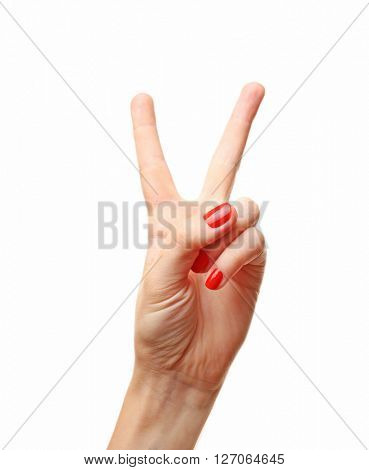 Woman hand making sign isolated on white background