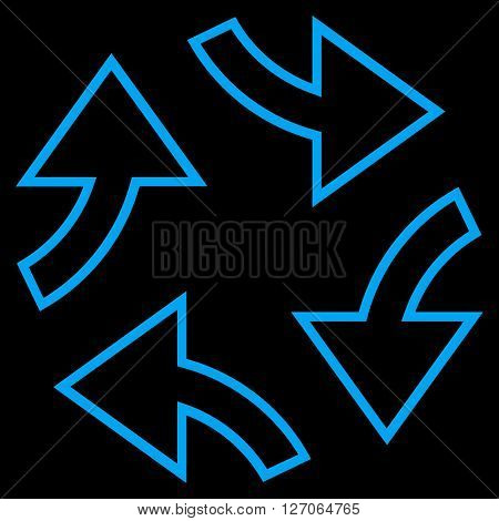 Circular Exchange Arrows vector icon. Style is thin line icon symbol, blue color, black background.