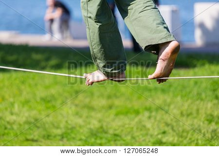 Slacklining is a practice in balance