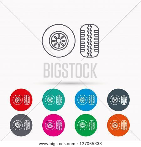 Tire tread icon. Car wheel sign. Linear icons in circles on white background.
