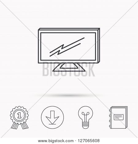 Lcd tv icon. Led monitor sign. Widescreen display symbol. Download arrow, lamp, learn book and award medal icons.
