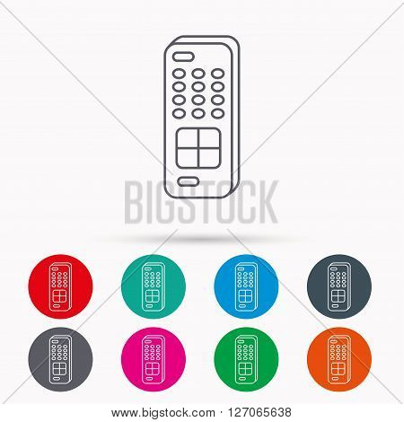Remote control icon. TV switching channels sign. Linear icons in circles on white background.